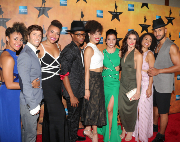 <p><em>Hamilton</em> ensemble players Ariana DeBose, Thayne Jasperson, Alysha Deslorieux, Ephraim Sykes, Emmy Raver-Lampman, Morgan Marcell, Carleigh Bettiol, Sasha Hutchings, and Sydney James Harcourt take a family photo.</p><br />(© David Gordon)