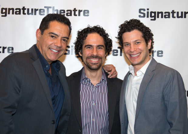 <p><em>Hamilton</em> musical director Alex Lacamoire (center) joins his <em>In the Heights</em> family members Carlos Gómez (left) and Thomas Kail (right) at the after-party.</p><br />(© Allison Stock)