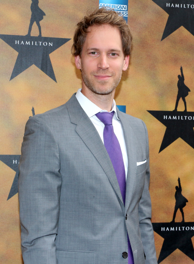 <p><em>Hamilton</em> scenic designer David Korins is proud to celebrate the show&#39&#x3B;s opening night.</p><br />(© David Gordon)