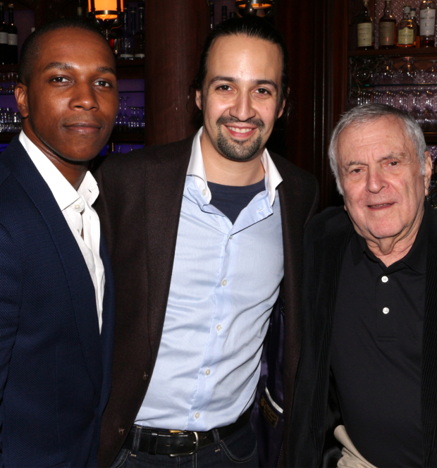 <p><em>Hamilton</em> stars Leslie Odom Jr. and Lin-Manuel Miranda pose with <em>The Visit</em> scribe John Kander.</p><br />(© David Gordon)