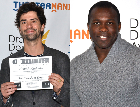 <p>Hamish Linklater and Joshua Henry — Outstanding Actor in a Play nominee for <em>The Comedy of Errors</em>, and Outstanding Featured Actor in a Musical nominee for <em>Violet</em>, respectively.</p><br />(© David Gordon)