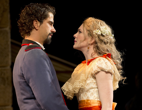 <p>Hamish Linklater and Lily Rabe lead the cast as Benedick and Beatrice.</p><br />(© Joan Marcus)