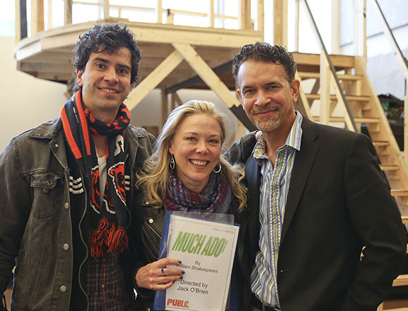<p>Hamish Linklater, Kathryn Meisle, and Brian Stokes Mitchell show off their script.</p><br />(© Tammy Shell)