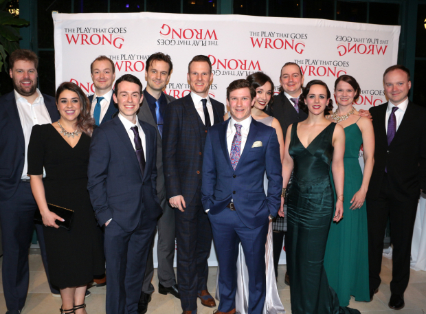 <p>Happy opening to the company of <em>The Play That Goes Wrong</em>!</p><br />(© David Gordon)