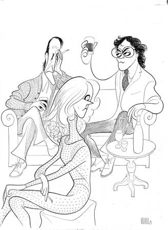<p>Harold Pinter plays appeared on Hirschfeld's board nearly as many times as his plays were produced. Here is the 1979 production of Pinter's drama <em>Betrayal</em> (with Roy Scheider, Raul Julia, and Blythe Danner) (now on Broadway with Daniel Craig, Rafe Spall, and Rachel Weisz).</p><br />courtesy of the Al Hirschfeld Foundation