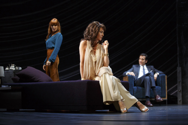 <p>Harold Pinter&#39&#x3B;s <em>Old Times</em>, directed by Douglas Hodge and starring Kelly Reilly, Eve Best, and Clive Owen, is a barrage of furtive glances and subtext.</p><br />(© Joan Marcus)