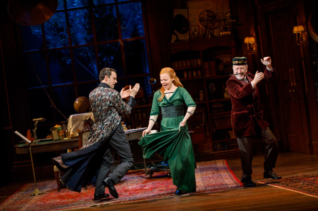 <p>Harry Hadden-Paton, Lauren Ambrose, and Allan Corduner dance together in a scene from <em>My Fair Lady</em>.</p><br />(© Joan Marcus)