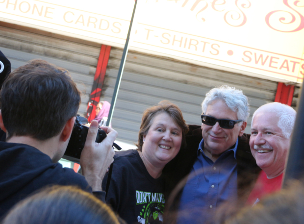 <p>Harvey Fierstein poses for photos at the <em>Kinky Boots</em> table.</p><br />(© David Gordon)