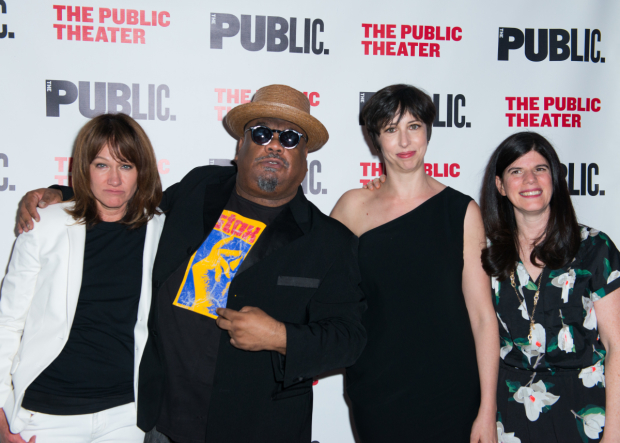 <p>Heidi Rodewald, Stew, Joanna Settle, and Public Theater associate artistic director Mandy Hackett celebrate the opening of <em>The Total Bent</em>.</p><br />(© Allison Stock)