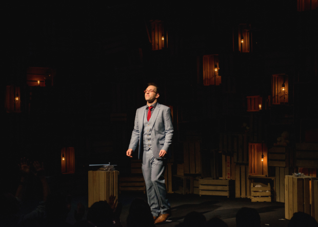 <p>Helder Guimarães takes his opening-night curtain call in <em>Verso</em>.</p><br />(© Allison Stock)