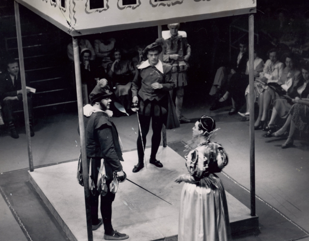 <p>Henry Oliver as Sir Toby Belch, Lester Rawlins as Sebastian, Harry Scully as Sir Andrew Aguecheck, and Marion Karczmar as Olivia in the 1951 production of <em>Twelfth Night</em>, directed by Zelda Fichandler, at Arena Stage.</p><br />(photo courtesy of Arena Stage)