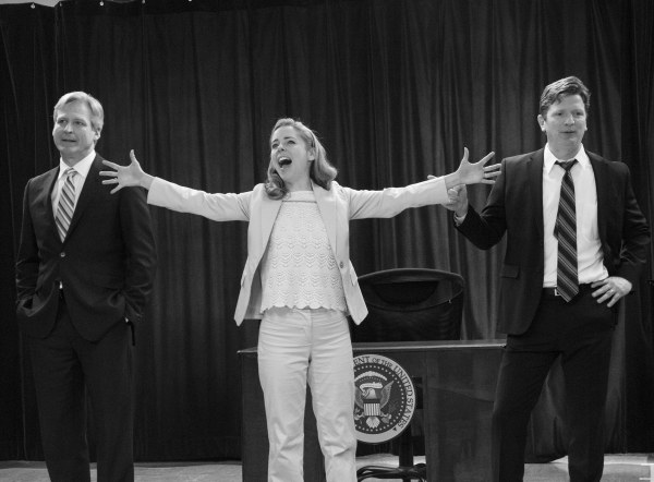 <p>Hillary (Kerry Butler) is torn between her two Bills (Tom Galantich and Duke Lafoon).</p><br />(© David Gordon)