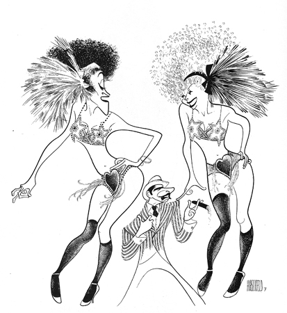 <p>Hirschfeld captured the spirit of the current production of <em>Chicago</em> (with Bebe Neuwirth, Ann Reinking, and James Naughton) when it first opened in 1996, just as he had done for the original 1975 production (with Chita Rivera, Gwen Verdon, and Jerry Orbach). Hirschfeld had also drawn the original 1927 play from which the musical was adapted.</p><br />courtesy of the Al Hirschfeld Foundation