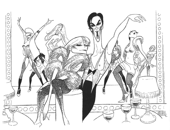 <p>Hirschfeld drew the 1966 Broadway premiere of <em>Cabaret</em>. He drew the film in 1972. He drew the 1987 revival, and his final drawing of the classic was of the 1998 revival (seen here) with the late Natasha Richardson and the great Alan Cumming.</p><br />courtesy of the Al Hirschfeld Foundation
