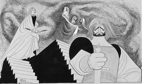 <p>Hirschfeld drew <em>Macbeth</em> eleven times. His first was Orson Welles' <em>Voodoo Macbeth</em> in 1936 and over the next few decades he drew Charlton Heston, Michael Redgrave (seen here), and Christopher Plummer in the title role.</p><br />courtesy of the Al Hirschfeld Foundation