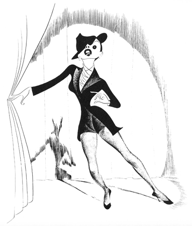 <p>Hirschfeld first drew Judy Garland when he created five of the six posters for the original 1939 release of <em>The Wizard of Oz</em>. He drew her a total of 49 times, primarily in films, but also in her occasional live performances.</p><br />courtesy of the Al Hirschfeld Foundation