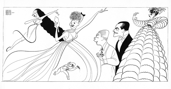 <p>Hirschfeld&#39&#x3B;s drawing of the 1943 Broadway premiere of <em>One Touch of Venus</em>, with Sono Osata, Mary Martin, Teddy Hart, Kenny Baker, John Boles, and Paula Laurence.</p><br />courtesy of the Al Hirschfeld Foundation