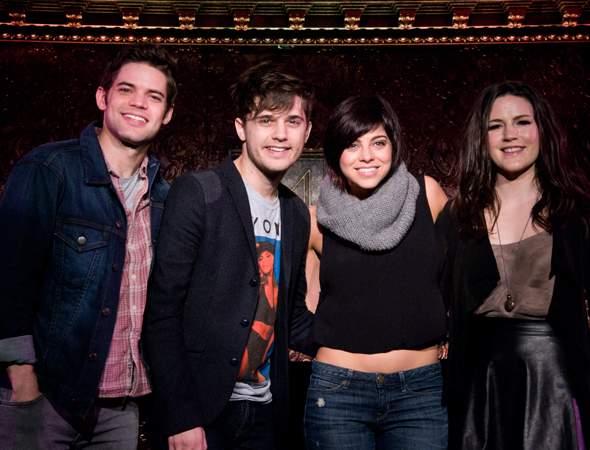 <p><em>Hit</em> List stars Jeremy Jordan, Andy Mientus, Krysta Rodriguez, and Carrie Manolakos.</p><br />(© David Gordon)