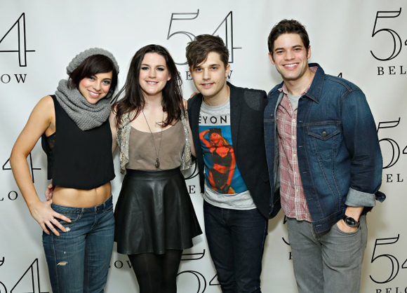 <p><em>Hit List</em>&#39&#x3B;s stars (Krysta Rodriguez, Carrie Manolakos, Andy Mientus, and Jeremy Jordan) pose for a picture.</p><br />(© Cindy Ord/Getty Images)