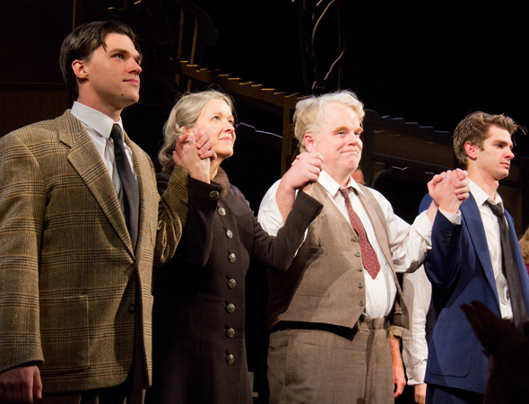 <p>Hoffman takes his opening-night curtain call in <em>Death of a Salesman</em> alongside his costars, Finn Wittrock, Linda Emond, and Andrew Garfield.</p><br />(© Tristan Fuge)