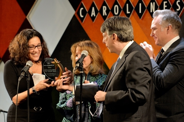 <p>Honoree Patricia Klausner being presented the TRU Entrepreneur Award by producer Sharon A. Carr, with TRU President Bob Ost, and Peter Picard, Patricia&#39&#x3B;s business partner.</p><br />(© Eduardo Patino)
