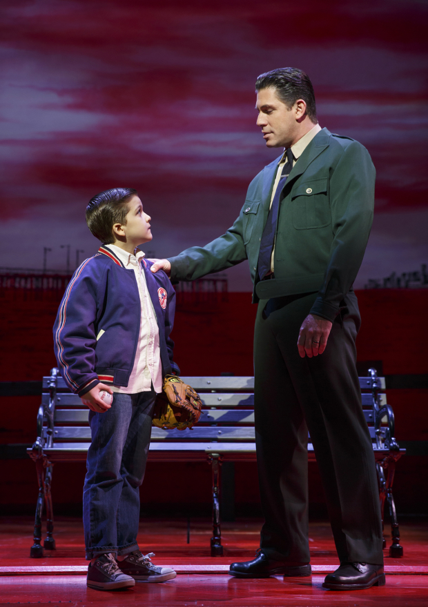 <p>Hudson Loverro and Richard H. Blake share a father-son moment.</p><br />(© Joan Marcus)