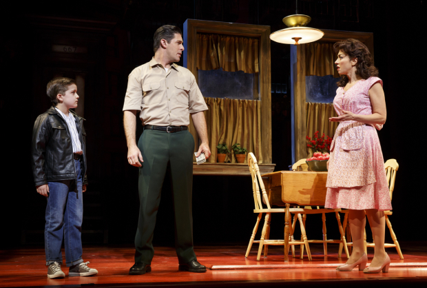<p>Hudson Loverro as young Calogero with Richard H. Blake and Lucia Giannetta playing his parents.</p><br />(© Joan Marcus)