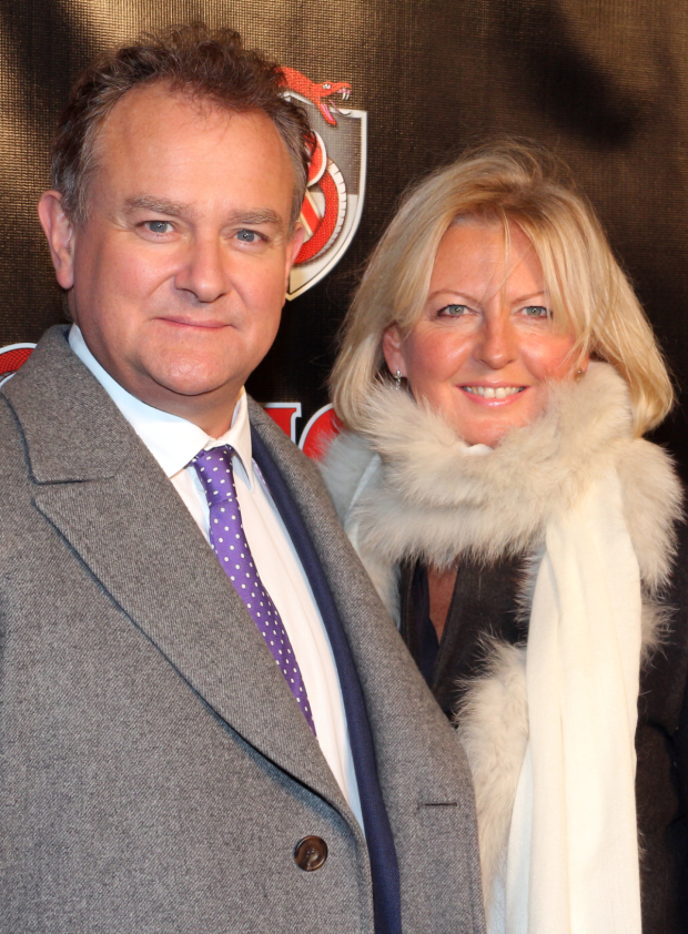 <p>Hugh Bonneville (seen here with his wife, Lucinda) lends support to his <em>Downton Abbey</em> creator, Julian Fellowes, on his Broadway opening night with <em>School of Rock</em>.</p><br />(© David Gordon)