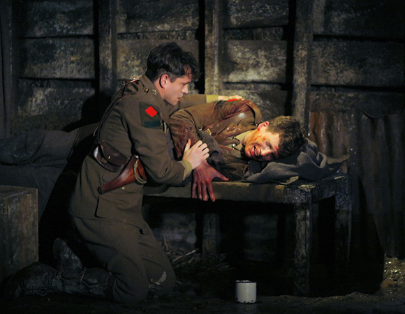 <p>Hugh Dancy watches Stark Sands die in a World War I trench in <em>Journey&#39&#x3B;s End</em> (2007). </p><br />(© Paul Kolnik)