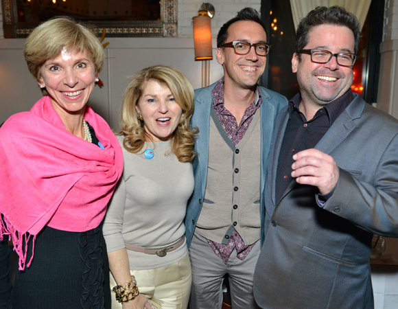 <p>Huntington Artistic Director Peter DuBois (right) smiles alongside Juliet Turner, Huntington trustee Anne Fitzpatrick Cucchiaro, and DuBois&#39&#x3B; partner Ben Bohen at <em>The Power of Duff</em> cast party.</p><br />(© Josh Reynolds)