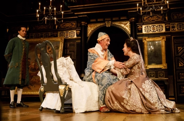 <p>Huss Garbiya, Mark Rylance, and Melody Grove in a scene from <em>Farinelli and the King</em>.</p><br />(© Joan Marcus)