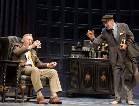 <p>Ian McKellen and Patrick Stewart share the stage as Spooner and Hirst in Harold Pinter's <em>No Man's Land</em>.</p><br />(© Joan Marcus)