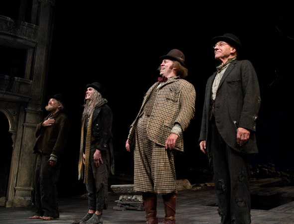 <p>Ian McKellen, Billy Crudup, Shuler Hensley, and Patrick Stewart during curtain call of <em>Waiting for Godot</em>.</p><br />(© David Gordon)
