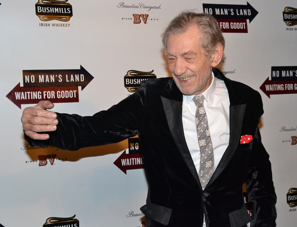 <p>Ian McKellen poses for a photo with the long-awaited Godot.</p><br />(© David Gordon)