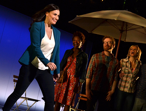 <p>Idina Menzel is thrilled as she takes her bow on opening night.</p><br />(© David Gordon)