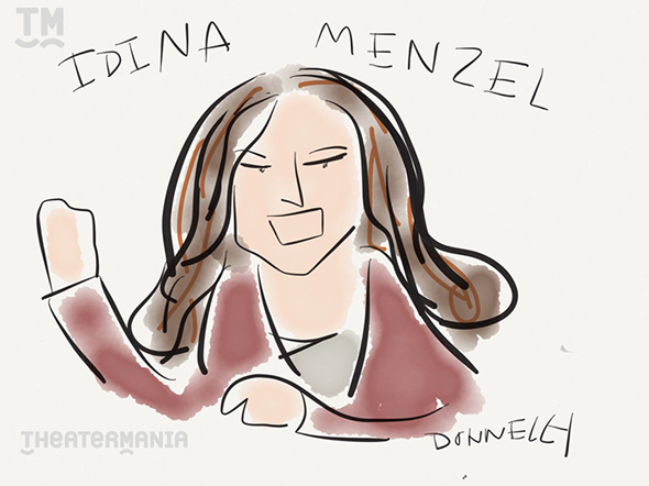 <p>Idina Menzel takes the stage to sing from <em>If/Then</em>.</p><br />(© Liza Donnelly)