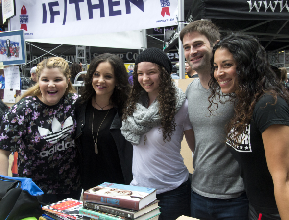 <p><em>If/Then</em> cast members, including Ryann Redmond and Janet Krupin (left), pose for photos at that show&#39&#x3B;s table in Times Square.</p><br />(© David Gordon)