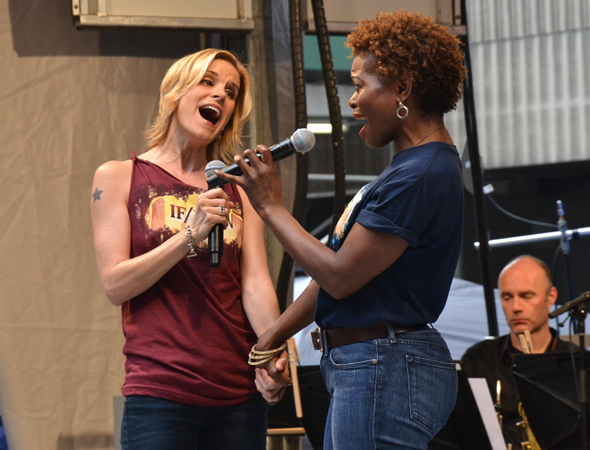 <p><em>If/Then</em> cast members Jenn Colella and LaChanze perform &quot&#x3B;Love While You Can.&quot&#x3B;</p><br />(© David Gordon)