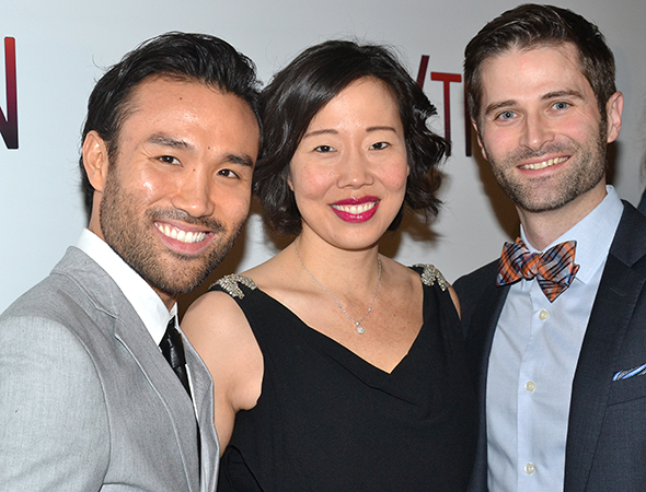 <p><em>If/Then</em> ensemble players Marc delaCruz, Pearl Sun, and Charles Hagerty stop for photos at the after-party.</p><br />(© David Gordon)