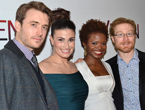 <p><em>If/Then</em> stars James Snyder, Idina Menzel, LaChanze, and Anthony Rapp are thrilled to celebrate their opening night.</p><br />(© David Gordon)