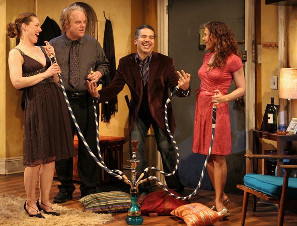 <p>In 2007, Hoffman received a Drama Desk Award nomination for his performance in Bob Glaudini&#39&#x3B;s <em>Jack Goes Boating</em> at the Public Theater, starring opposite (from left) Beth Cole, John Ortiz, and Daphne Rubin-Vega. He later directed and starred in the play&#39&#x3B;s film adaptation.</p><br />(© Monique Carboni)