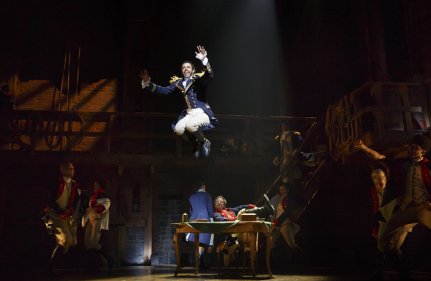 <p>In Act 1, Daveed Diggs takes the stage as a high-flying Marquis De Lafayette.</p><br />(© Joan Marcus)