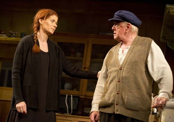 <p>In <em>Outside Mullingar</em>, Debra Messing&#39&#x3B;s Rosemary speaks with Peter Maloney, who plays Tony Reilly, the father of Anthony, played by Brían F. O&#39&#x3B;Byrne.</p><br />(© Joan Marcus)
