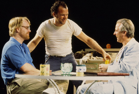 <p>In the 2000 Broadway premiere of Sam Shepard&#39&#x3B;s <em>True West</em> at the Circle in the Square Theatre, Hoffman (seated left) switched roles nightly with costar John C. Reilly. Starring alongside Robert LuPone (right) and Celia Weston, Hoffman won a Theatre World Award and also received Tony and Drama Desk Award nominations for his performance.</p><br />(© Joan Marcus)