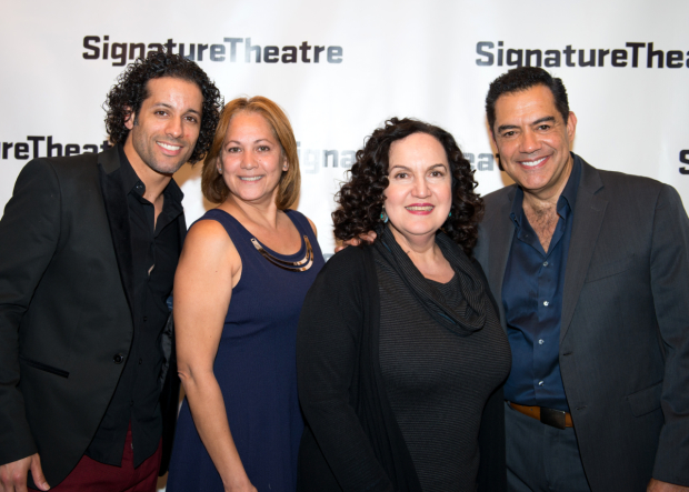 <p><em>In the Heights</em> vets Luis Salgado (left) and Olga Meridez (second from right) congratulate Carlos Gómez on his opening night.</p><br />(© Allison Stock)