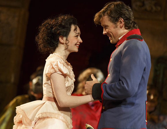 <p>Ismenia Mendes as Hero and Jack Cutmore-Scott as Claudio.</p><br />(© Joan Marcus)