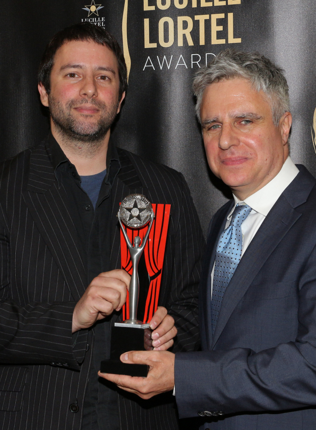 <p>Itamar Moses, Best Musical Recipient for <em>The Band&#39&#x3B;s Visit</em>, with Atlantic Theater artistic director Neil Pepe.</p><br />(© David Gordon)