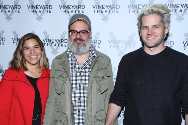 <p><em>It&#39&#x3B;s a Disaster</em> costars America Ferrera and David Cross pose for a photo with Ryan Piers Williams.</p><br />(© Tricia Baron)