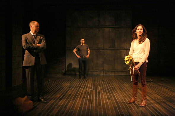 <p>It&#39&#x3B;s a literal love triangle between Daniel Jenkins, Dominic Fumusa, and Jessica Hecht.</p><br />(© Joan Marcus)