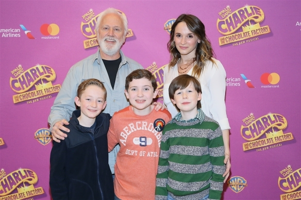 <p>John Rubinstein and Emily Padgett pose with Ryan Foust, Ryan Sell, and Jake Ryan Flynn, who alternate in the role of Charlie.</p><br />(© Tricia Baron)